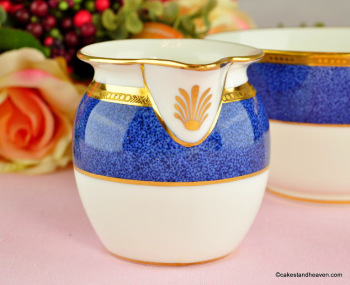 Antique Cauldon Cobalt Blue and Gold Bone China Milk Jug & Sugar Bowl c.1900s