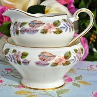 Aynsley April Rose Sugar Bowl and Milk Jug