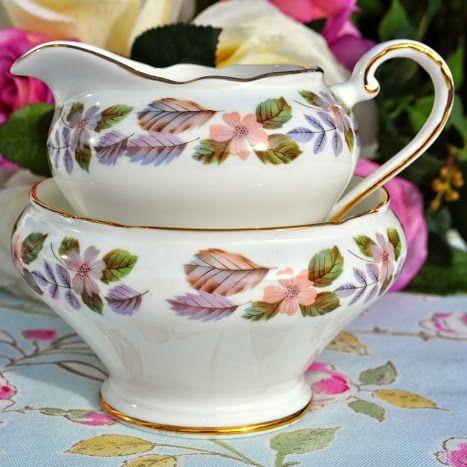 Aynsley April Rose English Fine China Sugar Bowl and Milk Jug