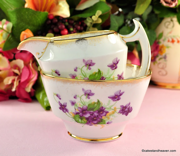 Phoenix China Sweet Violets Vintage Cream Jug and Sugar Bowl