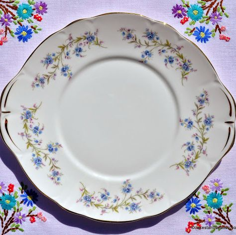 Duchess Tranquillity Blue Forget-Me-Nots Vintage Cake Plate