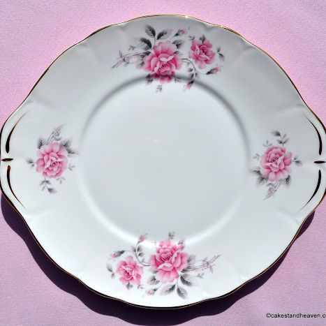 Duchess Pale Pink Rose Vintage Bone China Cake Plate