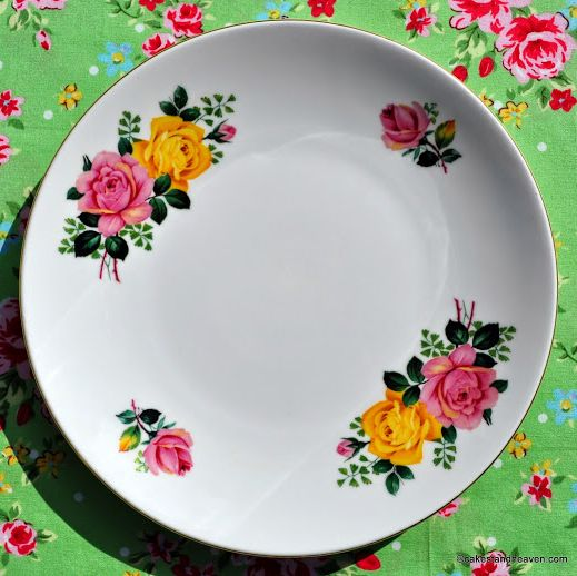 Windsor Pink and Yellow Roses Round Cake Plate