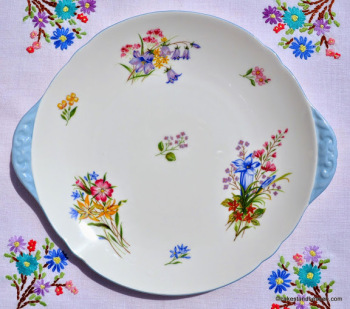Shelley Wild Flowers Cake Plate c.1950s