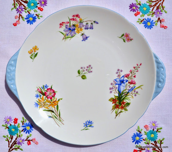 Shelley Wild Flowers Fine Bone China Cake Plate c.1950s