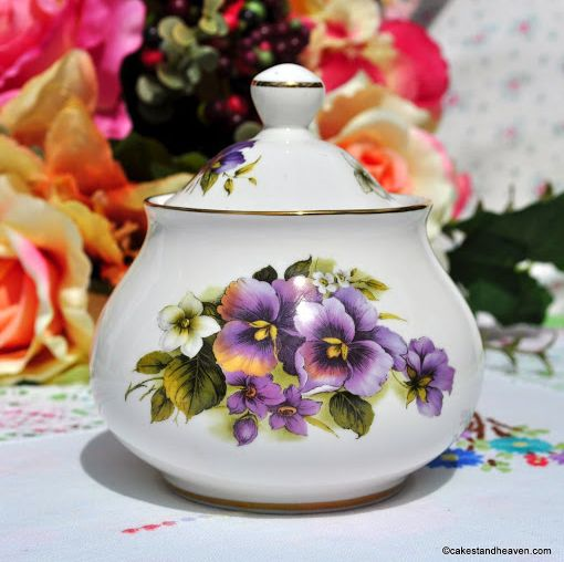 Sheltonian China Purple Pansies Lidded Sugar Bowl