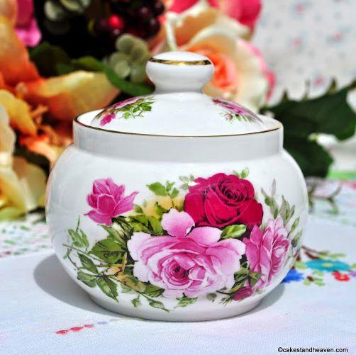 Sheltonian China Pink Roses Lidded Sugar Bowl
