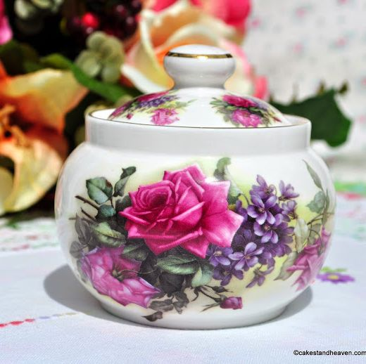 Sheltonian China Roses and Violets Lidded Sugar Bowl