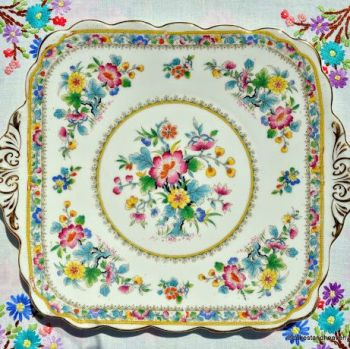 Foley Ming Rose Vintage 1930s Square Cake Serving Plate