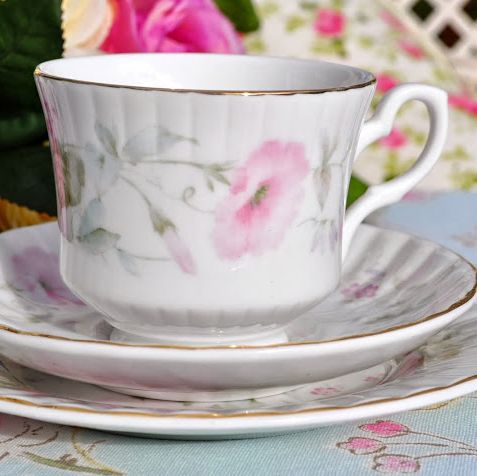 Royal Stafford Pastel Pink Floral Vintage English China Teacup Trio - Stock