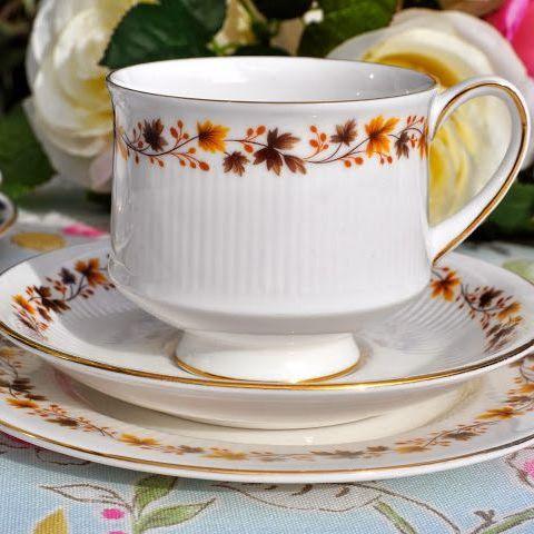 Royal Kent Golden Glory Vintage China Teacup Trio - Stock 3