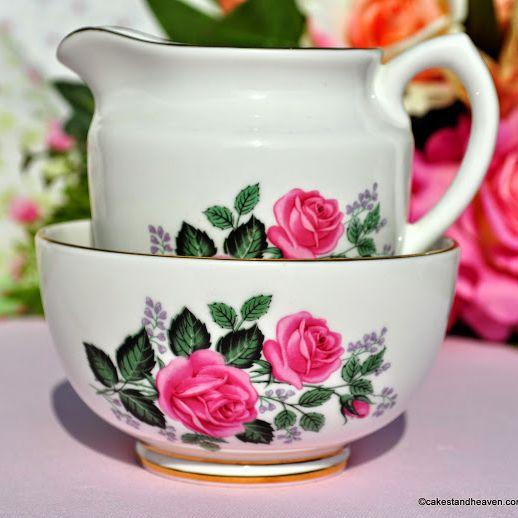 Taylor and Kent Pink Roses Vintage Milk Jug and Sugar Bowl