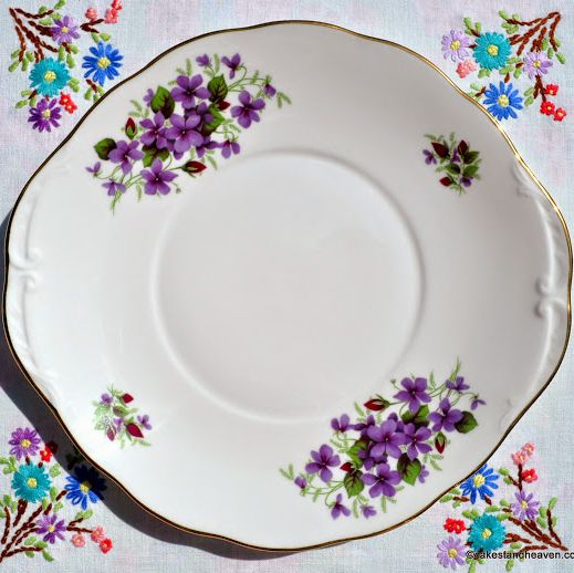 Queen Anne Violets and Rose Buds Vintage China Cake Plate