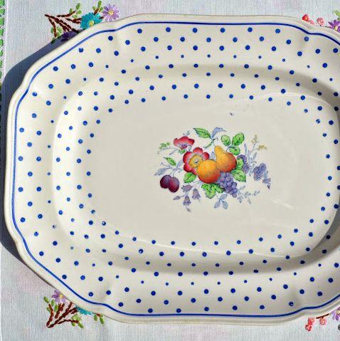 Spode's Polka Dot Copeland Spode 1930s Oblong Serving Platter