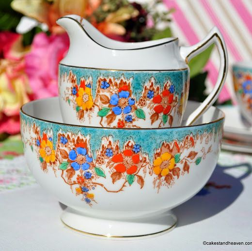 Duchess China Floral Hand Painted Vintage Jug and Sugar Bowl c.1920s
