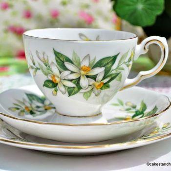 Tuscan Bridal Flower Orange Blossom Teacup Trio c.1947+
