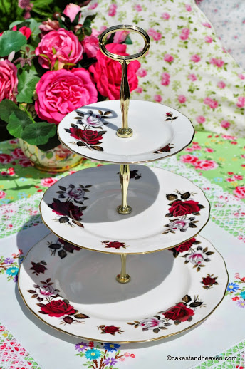 Colclough Red and White Roses Vintage China 3 Tier Cake Stand c.1960s