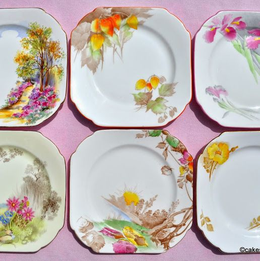 Shelley Set of Six Mismatched Bone China Side Plates c.1930s