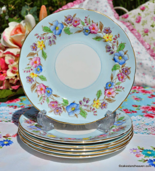 Foley Hand Painted Blue Floral 15.5cm Plates Set of Six c.1940s