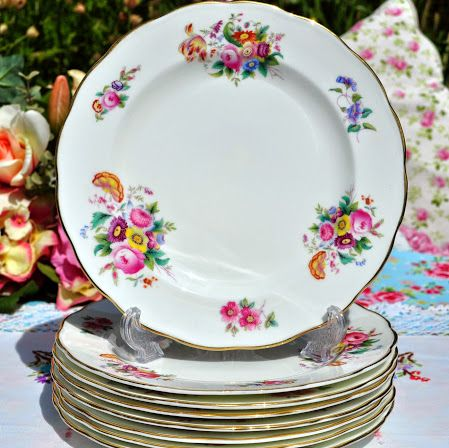 Crescent China Vintage Floral 20.5cm Salad Plate c.1930s - Stock 8