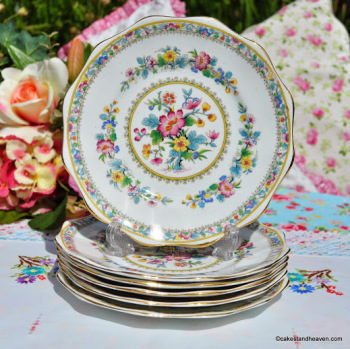 Foley Ming Rose Vintage Bone China Set of Six 18cm Plates c.1930s