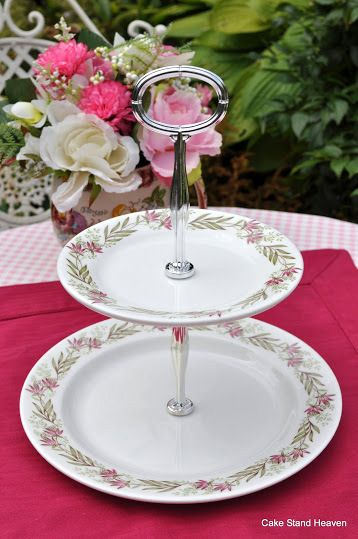 Pink Tresco Wedgwood Bone China 2 Tier Cake Stand