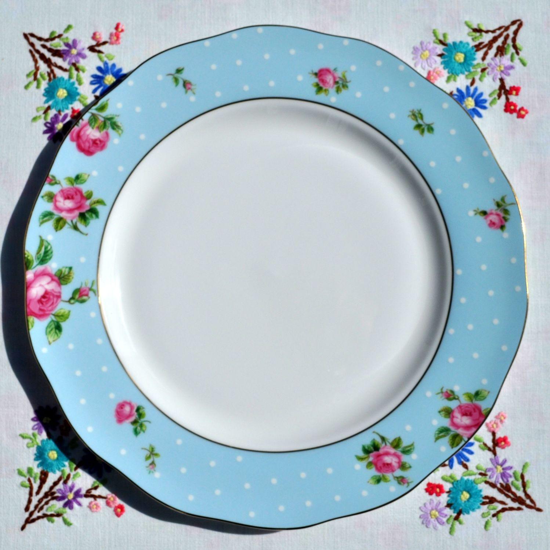 Royal Albert Polka Blue And Pink Roses Dinner Plate