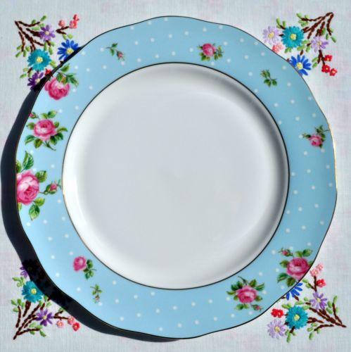 Royal Albert Polka Blue Gold Rimmed Dinner Plate