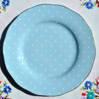 Royal Albert Polka Blue Gold Rimmed 20cm Plate