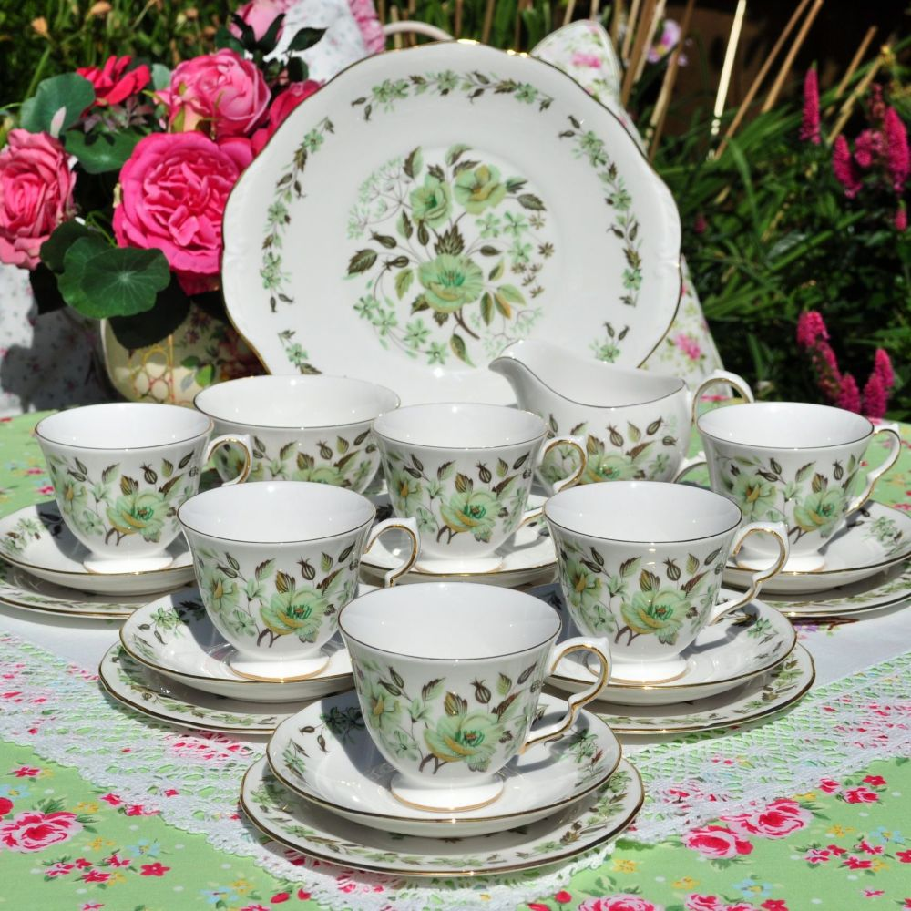 Colclough Sedgley Green Floral 21 Piece Tea Set