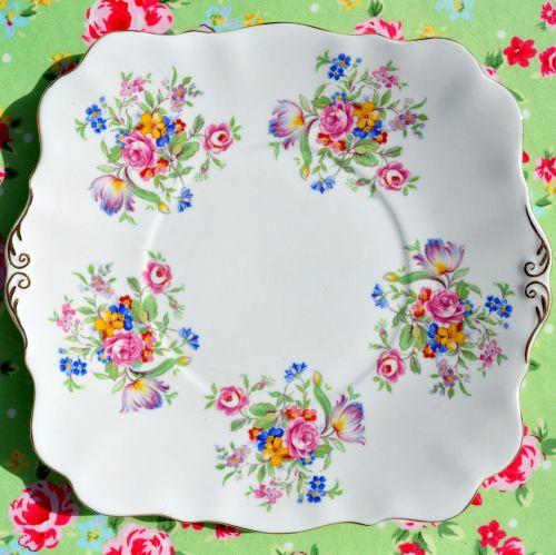 Royal Standard Posies Fine China Cake Plate c.1940s