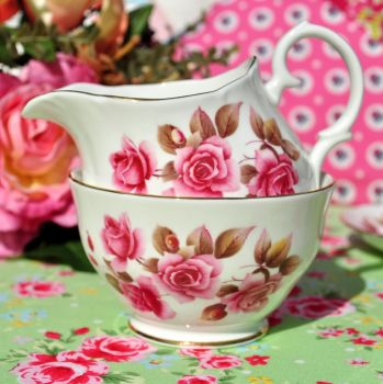 Duchess Pink Rose Vintage Milk Jug and Sugar Bowl