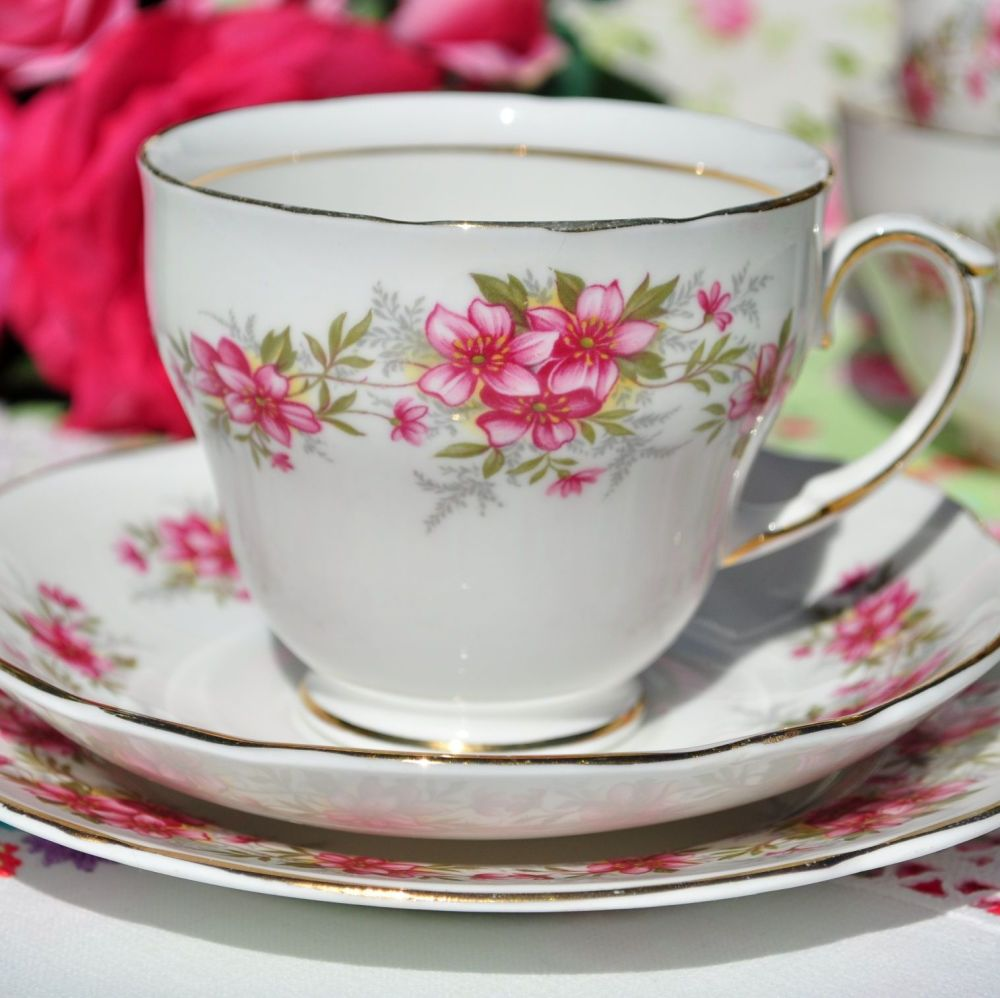 Duchess Pink Floral Bone China Teacup Trio c.1950s