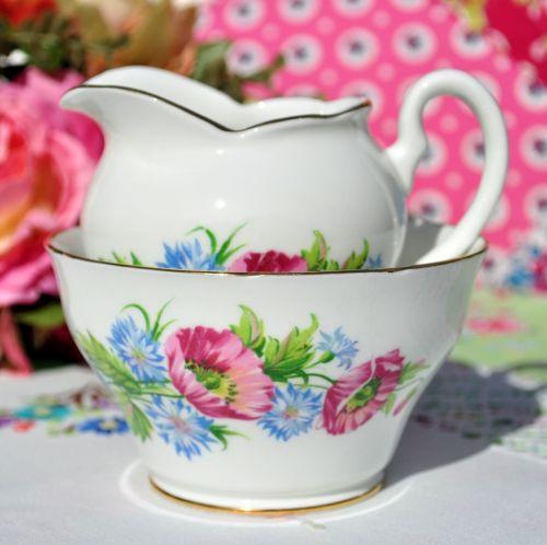 Sandringham Poppies and Cornflowers Milk Jug and Sugar Bowl