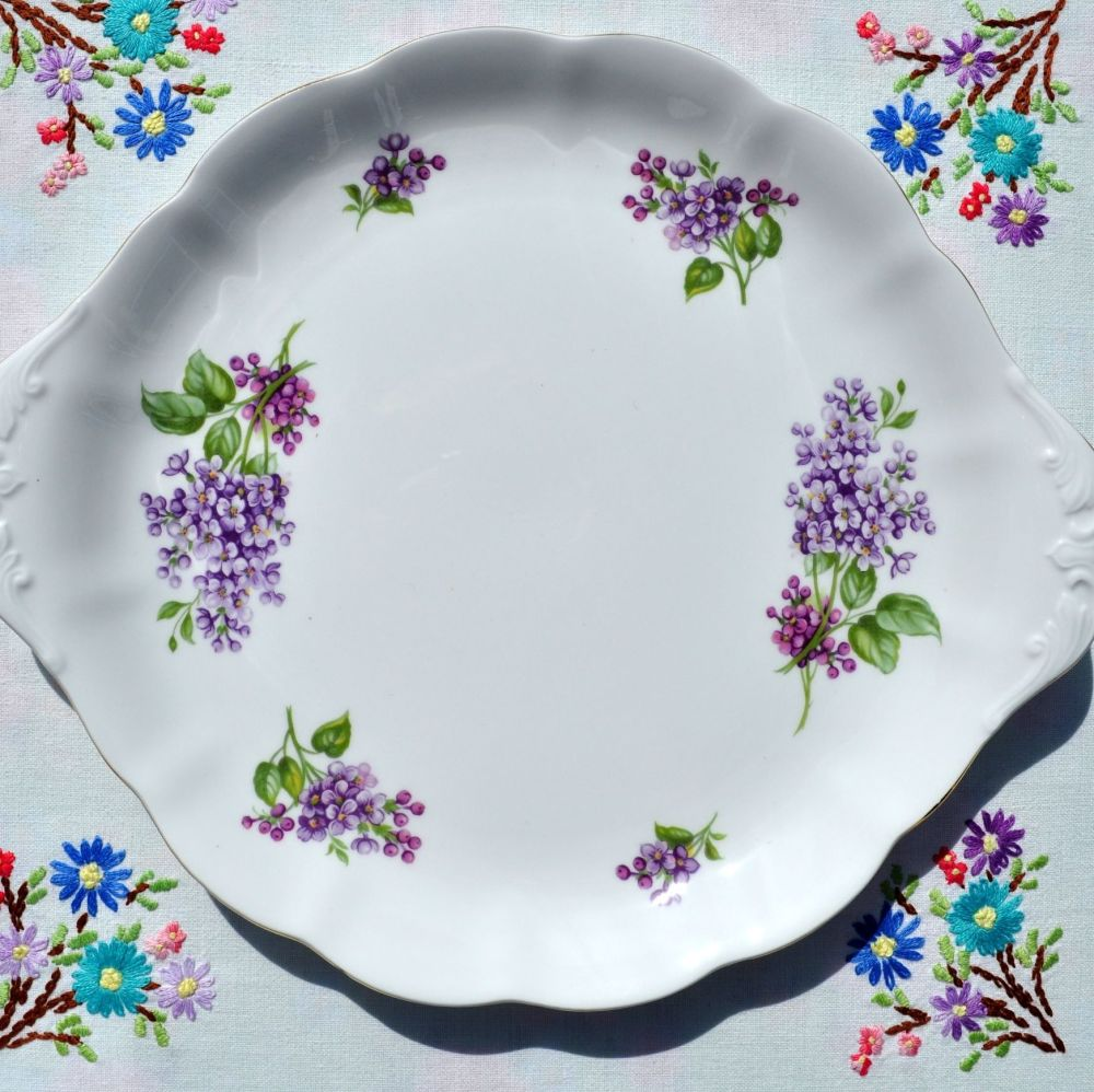 Richmond Lilacs Pattern Vintage Bone China Cake Plate