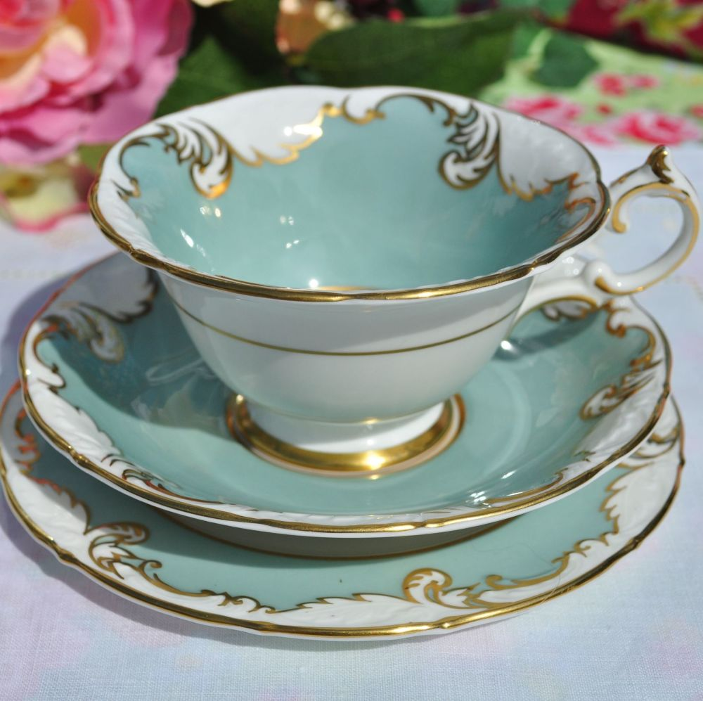 Paragon Richelieu Duck Egg and Gold Teacup Trio c.1957+