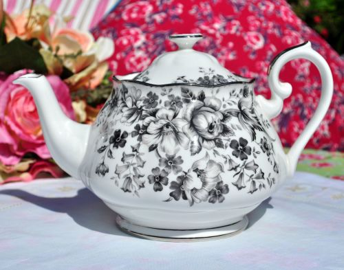 Royal Albert Paradise Platinum Rimmed China Teapot