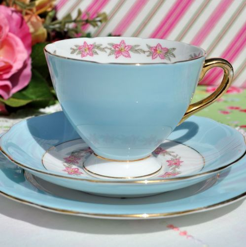 Gladstone Pale Blue Vintage China Tea Cup Trio c.1950s