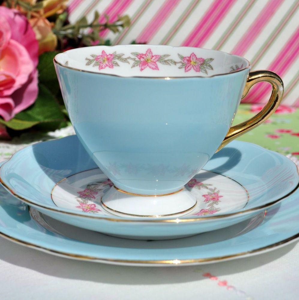Gladstone Pale Blue Vintage China Tea Cup Trio c.1950s