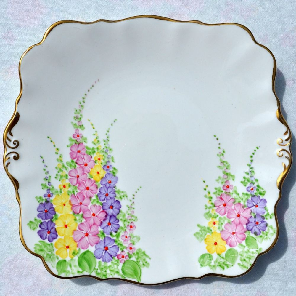 Art Deco Hollyhock Cake Plate by Chapmans c.1930s
