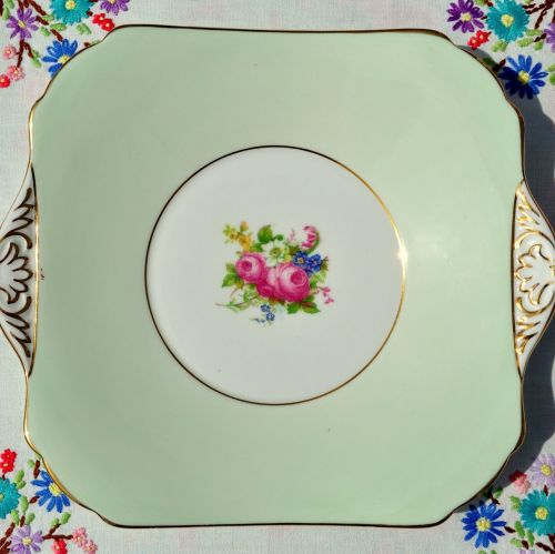 Grosvenor China Pastel Green and Posies Cake Plate c.1950s
