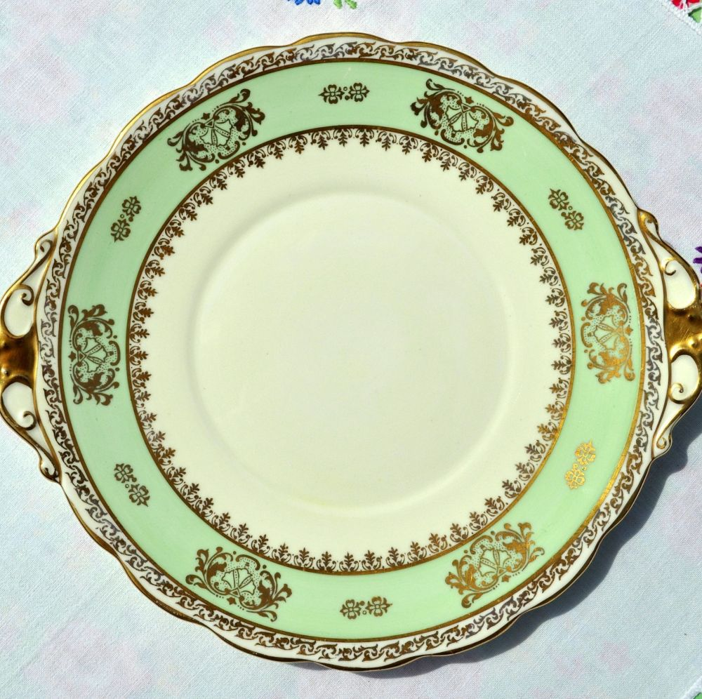 Roslyn Cream, Green and Gold Vintage Cake Plate c. 1950s