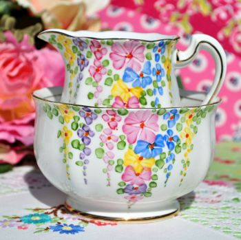 Royal Standard Hollyhock Vintage Milk Jug and Sugar Bowl