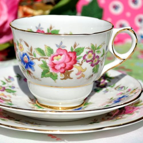 Royal Stafford Rochester Colourful Floral Pattern Tea Cup Trio c.1950s