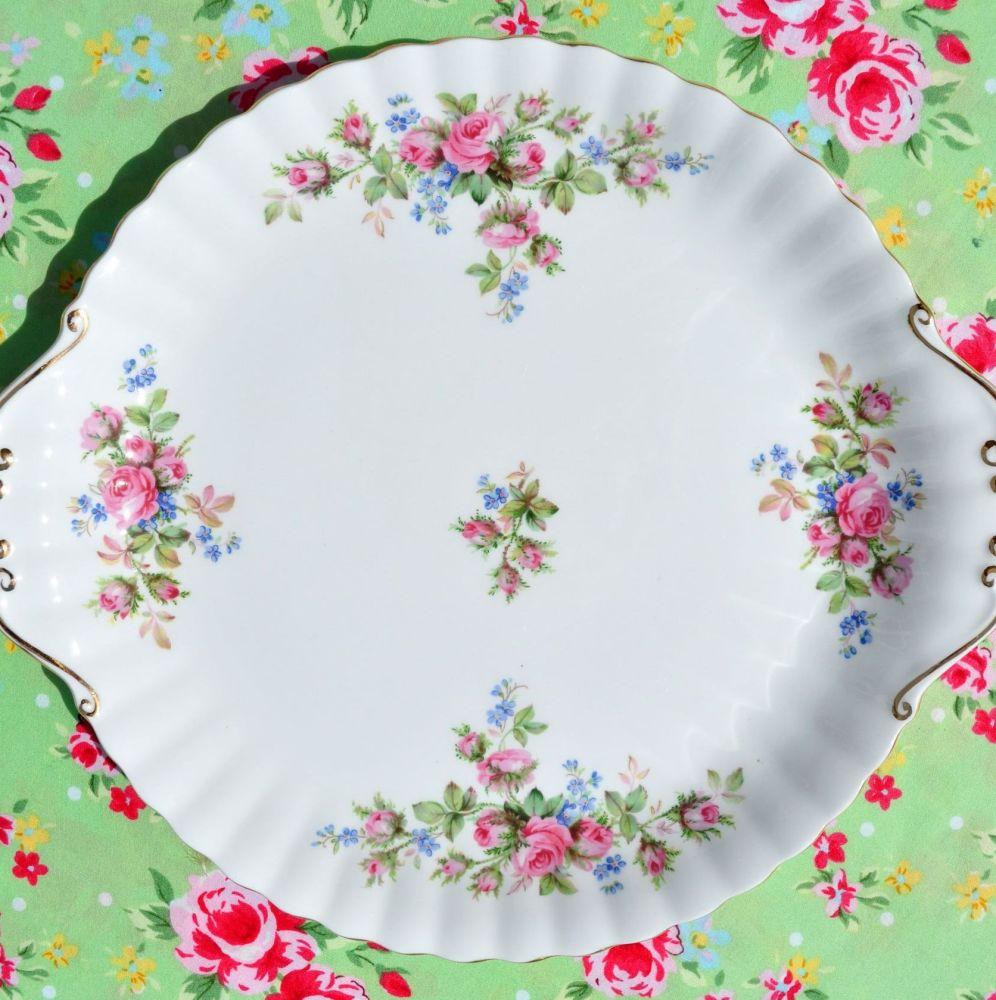 Royal Albert Moss Rose Vintage Bone China Cake Plate