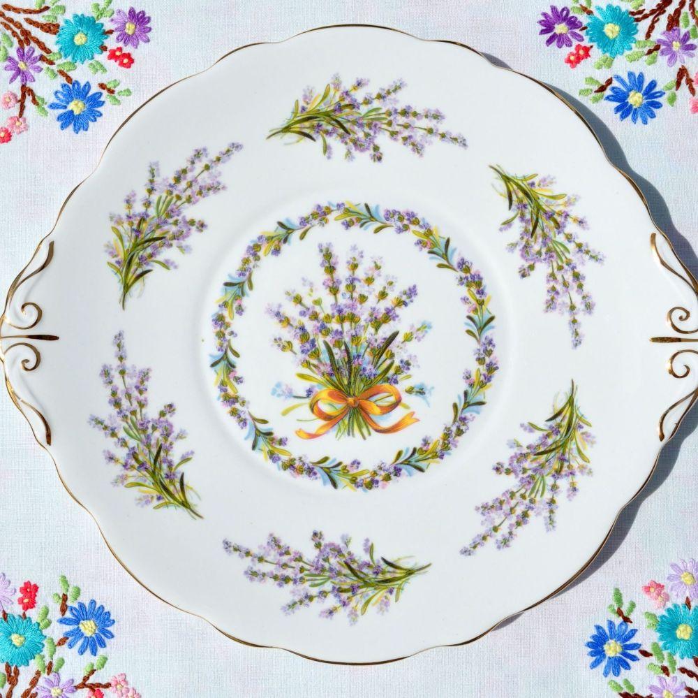 Regency Lavender Bouquet Vintage Bone China Cake Plate