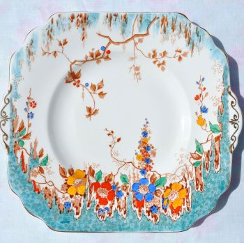 Duchess Floral Hand Painted Vintage Cake Plate c.1920s