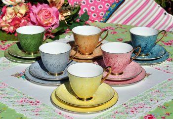 Royal Albert Gossamer Harlequin Tea Cup Trios Set c.1960s
