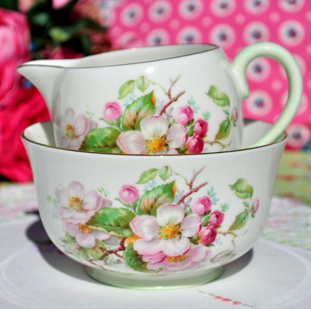 Royal Doulton Apple Blossom Milk Jug and Sugar Bowl