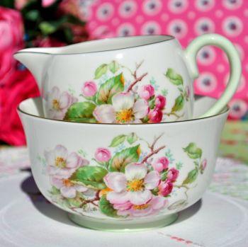 Royal Doulton Apple Blossom H4899 Milk Jug and Sugar Bowl